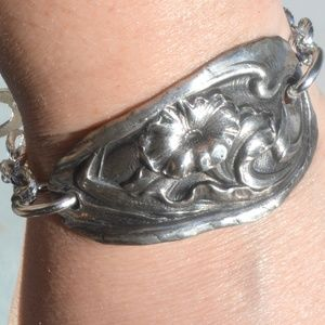 Floral Silverplated Antique Spoon Bracelet Flowers